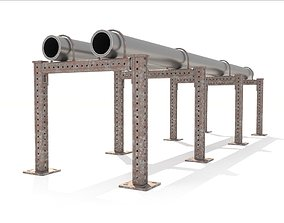 Heating network section Steam and water pipelines 3D