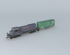 3D model DIESEL ENGINE WITH ONE FREIGHT CAR