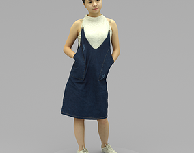 3D model A Young Woman Posing With Hands in Pockets