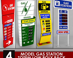 3D model Gas station price sign totem low poly pack