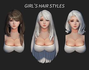 3D asset hair style girl short hair cape dye long hair