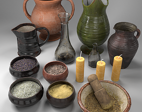 Herb Bowls Scene 3D asset