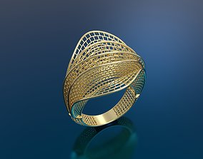 Ring ultra vision 3D print model silver abstract