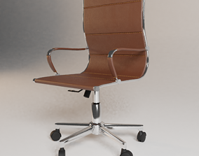 Office Chair in Leather and Metal PBR 3D asset low-poly