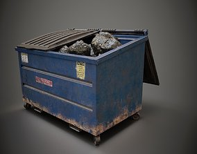 Dumpster and Garbage Bags Low-poly 3D model low-poly