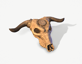 Nordic Cow Skull 3D asset game-ready