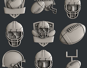 3d STL models for CNC set american football