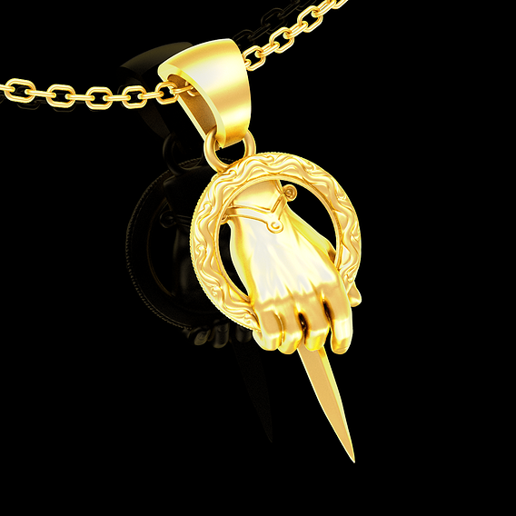 King Hand pendant jewelry gold necklace medallion 3D print model