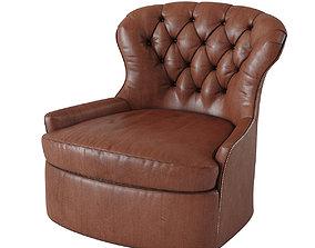 Cardiff Leather Swivel Armchair 3D