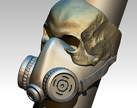 Skull Ring Gas Mask Respirator STL OBJ High 3D print model