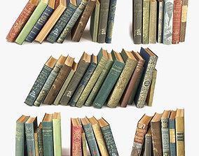 3D model old books on a shelf set 10