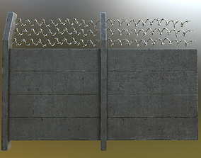 Modular Concrete Fence With Thick Barbed Wire 3D model