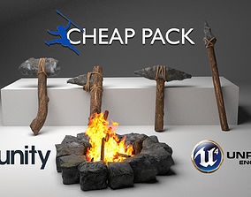 3D model Stone Age Tools Pack PBR Primal