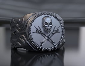 3D print model Ring with skull and rock gesture