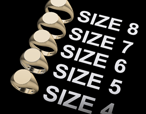 3D printable model Round Signet Ring Mix Size