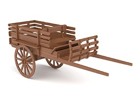 Wooden toy trolley 01 3D