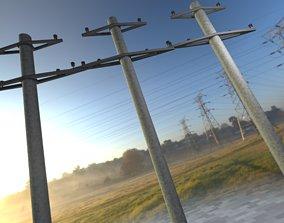 Iron power pole without ladder - Objekt 067 3D asset