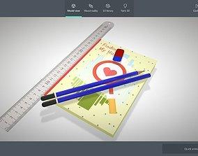 Book - Pencil - Ruler - Eraser 3D asset