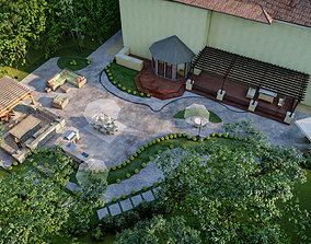 Luxury backyard design of modern house sketchup lumion