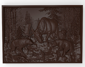 3D print model Hunting wolf pack Bas relief