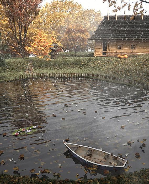 3d render rural ukrainian landscape and architecture