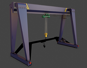PBR Single Girder Gantry Crane V2 - Blue Dark 3D asset