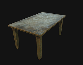 Old wooden table 3D asset low-poly