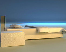 3D model Bed white leather