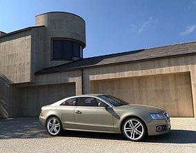 Yard Garage And A Car Audi 3D