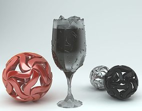 3D model Glass Of Coke With Ice cube and Balls