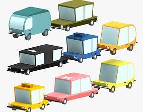 3D asset Low poly Car pack 2