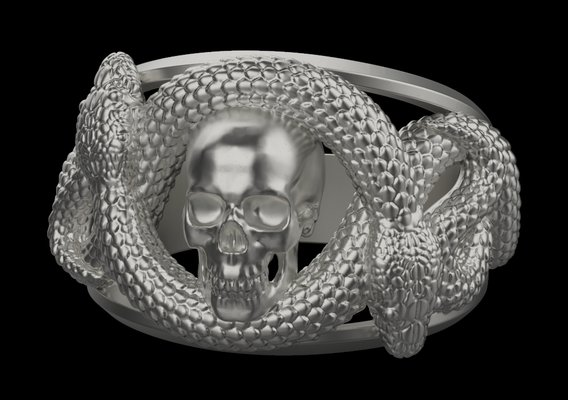Ring with skull and snakes 3D print model