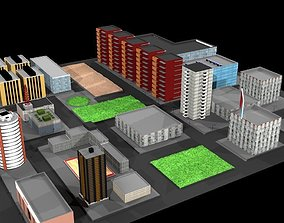realtime Simple Low poly City 3D Model