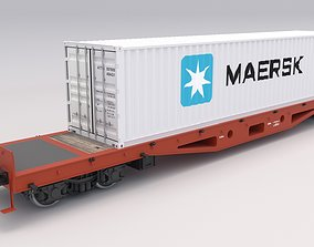 3D model Flat Rail Car Maersk Container