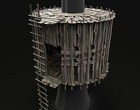 TREE PLATFORM HUT WOODEN CONSTRUCTION SCOUT TOWER 3D asset