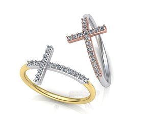 3D printable model Cross ring with diamonds Delicate 1