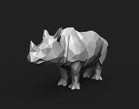 Rhinoceros Low Poly 3D print model