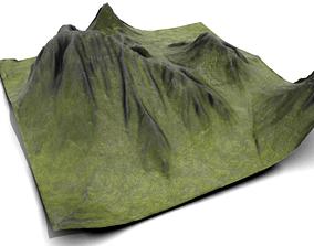 Grassy Mountain Landscape crag 3D model PBR