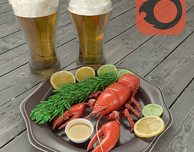 food crawfish with beer 3D model