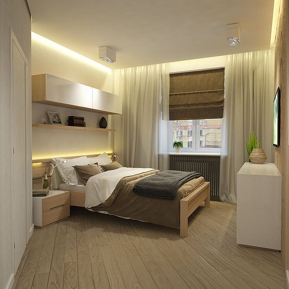 The design of the bedroom in a private apartment