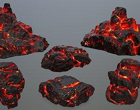3D asset VR / AR ready lava rocks