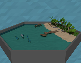 3D asset LowPoly tropical Beach Scene with stone tools