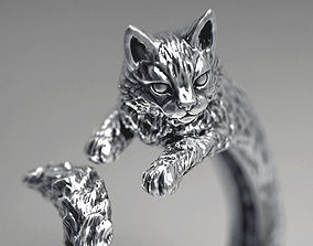 3D printable model gift High detailed cat ring