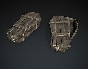 Wooden Coffin 3D asset