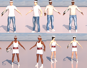 pack of low poly four tennis players ar vr 3D asset 1