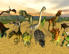 Jurassic pack 3D model animated