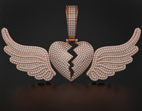3D printable model Broken Heart with Wings Pendant
