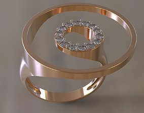 3D printable model Ring two circles with gems many sizes