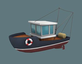 Low Poly Boat 3D asset game-ready