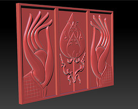 decor 3D print model Hand and Lotus